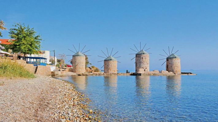 Die Windmühlen von Chios gehören zu den beliebtesten Sehenswürdigkeiten der Insel.